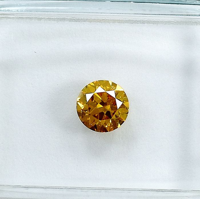 Diamond - 0.50 ct - Brilliant - Natural Fancy Deep Orange -Yellow - Si1 - NO RESERVE PRICE - VG/VG/G