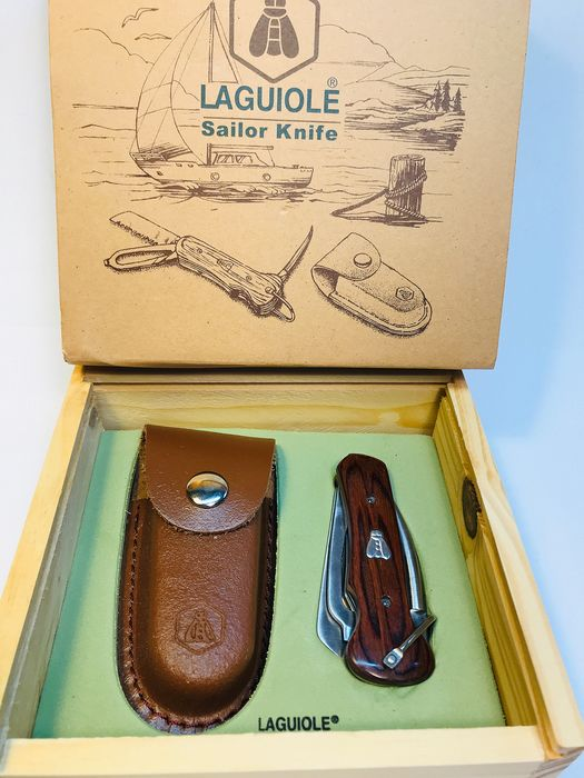 France  -  Laguiole Sailor Knife - Cutlery - Bubinga Wood leather sheath / Wooden Gift Box - Pocket Knife, Hand-crafted/ Cutlery knife