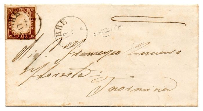 Sardinien 1861 - 10 cents dark chocolate, letter from Giarre to Taormina - Raybaudi - Sassone N. 14Ce