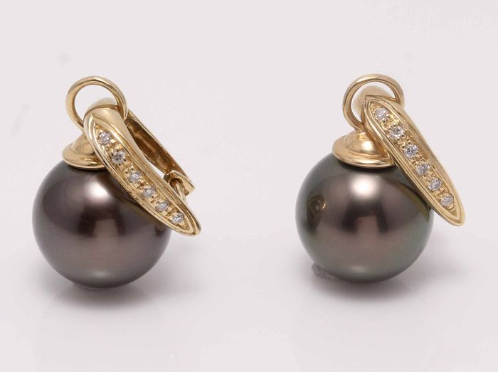 NO RESERVE PRICE - 14 kt. Yellow Gold - 11.5mm Round Tahitian Pearls - Earrings - 0.11 ct