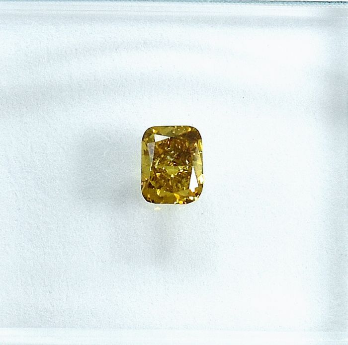 Diamond - 0.23 ct - Cushion - Natural Fancy Intense Brownish Yellow - Si1 - NO RESERVE PRICE
