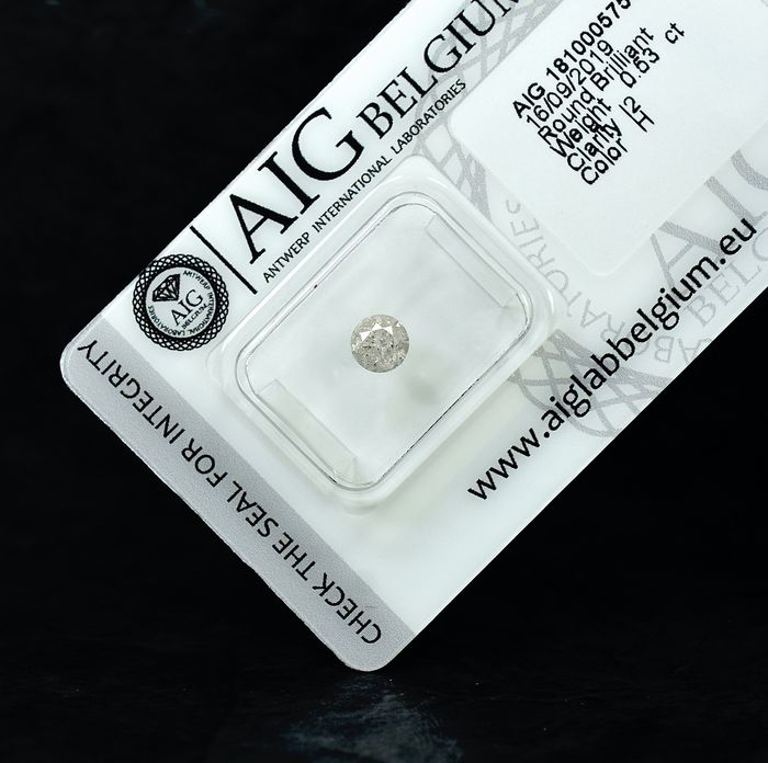 Diamant - 0.53 ct - Brillant - H - I2 - NO RESERVE PRICE