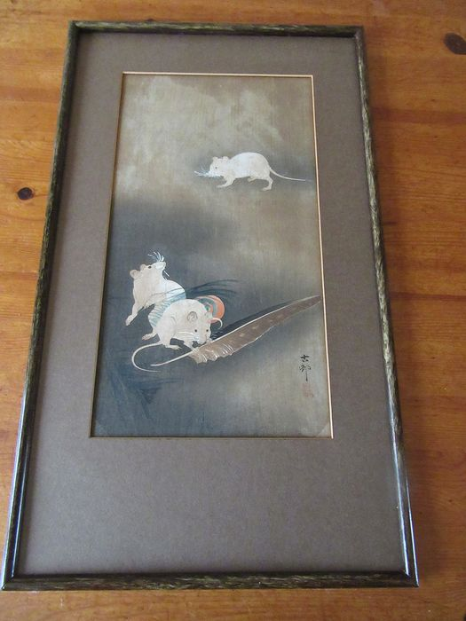 Original woodblock print, otanzaku - Ohara Koson (1877-1945) - Three white mice nibbling at a feather - ca 1910-20s