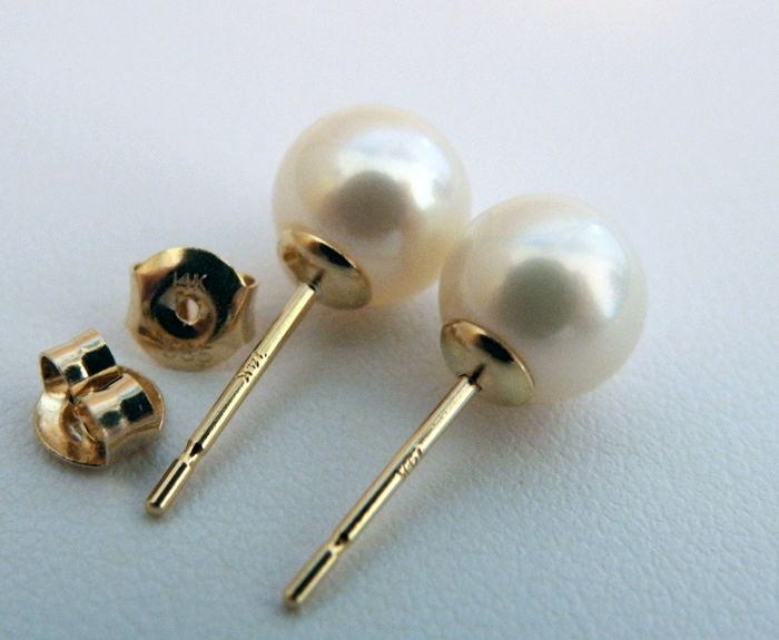 NO RESERVE PRICE - FedEx DELIVERY - Akoya pearls, Premium 8 mm - Earrings, 14 kt. Yellow Gold