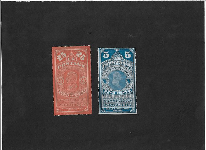 Noord Amerika 1865/1865 - Stamps for newspapers, 25 cents/coloured border-5 cents/white border, all without gum - Yvert N° 3 et n° 4