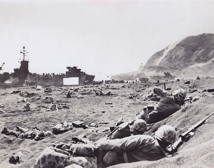 Joe Rosenthal (1911-2006)/ AP News Features Photo - 'Marines land at Iwo Jima', 1945