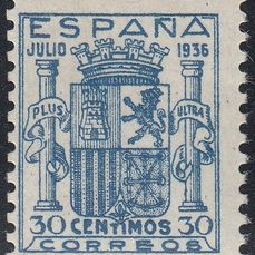 Spain 1936 - Coat of arms of Spain. Granada. CEM certificate - Edifil 801