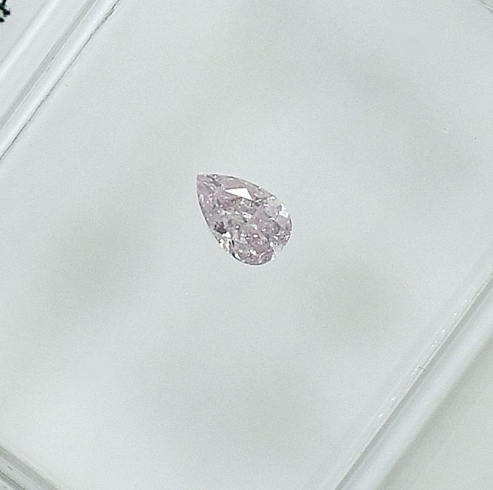 Diamond - 0.11 ct - Pear - Natural Fancy Light Pink - I2 - NO RESERVE PRICE