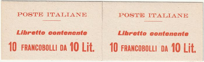 "Republik 1959 - MILAN ""cream"" booklet with the same text on the 2 sides, containing a block of 10 of 10 L. watermark I - Sassone LIB. 10"