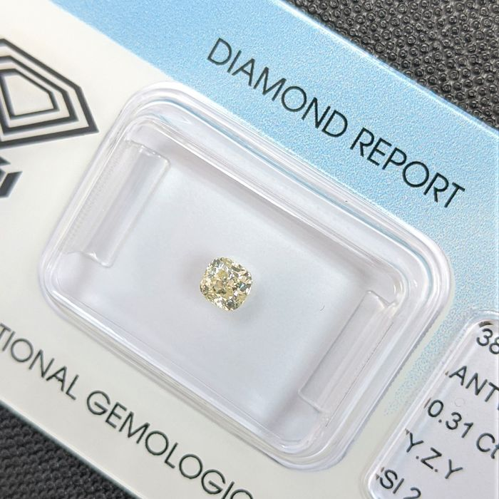 Diamant - 0.31 ct - Kissen - Y-Z Yellow - SI2, IGI Antwerp - No Reserve Price