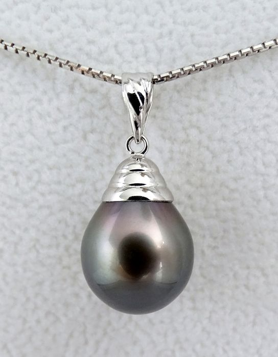 NO RESERVE PRICE - FedEx DELIVERY - Tahitian pearl, Purple Glow Drop Shaped AAA 11.41 X 14 mm - Pendant, 18 kt. White Gold