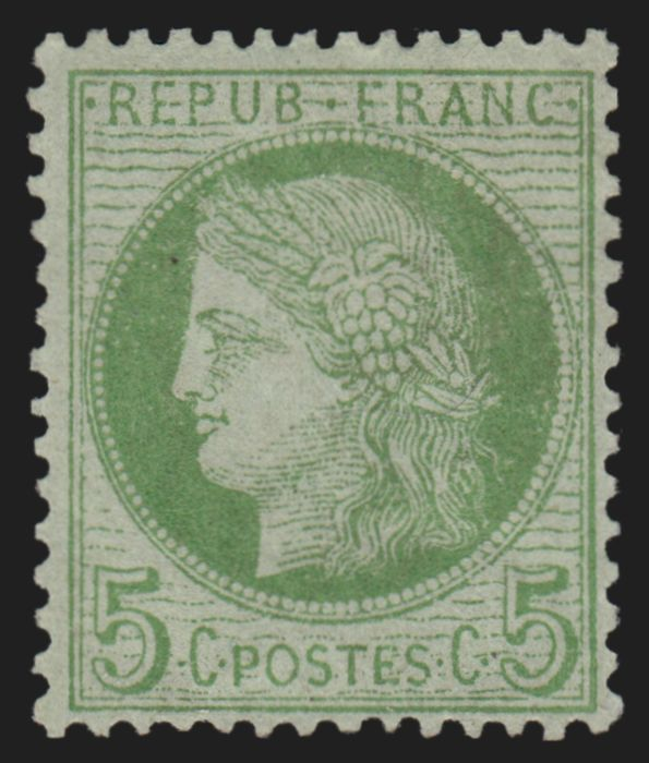 France 1872 - Ceres 5 c green-yellow on cerulean, mint* - Yvert n° 53