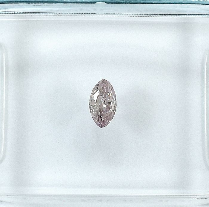 Diamond - 0.14 ct - Marquise - Natural Fancy Light Orangy Pink - I2 - NO RESERVE PRICE