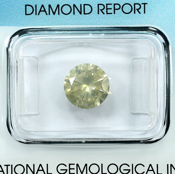 Diamond - 2.00 ct - Brilliant - X-Y,Light Brownish Yellow - I1 - NO RESERVE PRICE - VG/VG/G