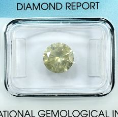 Diamond - 2.00 ct - Briliant - X-Y,Light Brownish Yellow - I1 - NO RESERVE PRICE - VG/VG/G