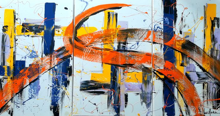 Luc Mora  - Abstract couleur 0638 (Tryptique 120/60 cms)