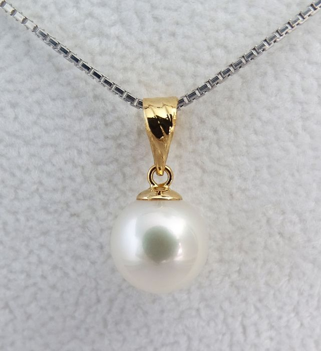 NO RESERVE PRICE - FedEx DELIVERY - Akoya pearl, Premium True AAA 8.9 mm - Pendant, 18 kt. Yellow Gold