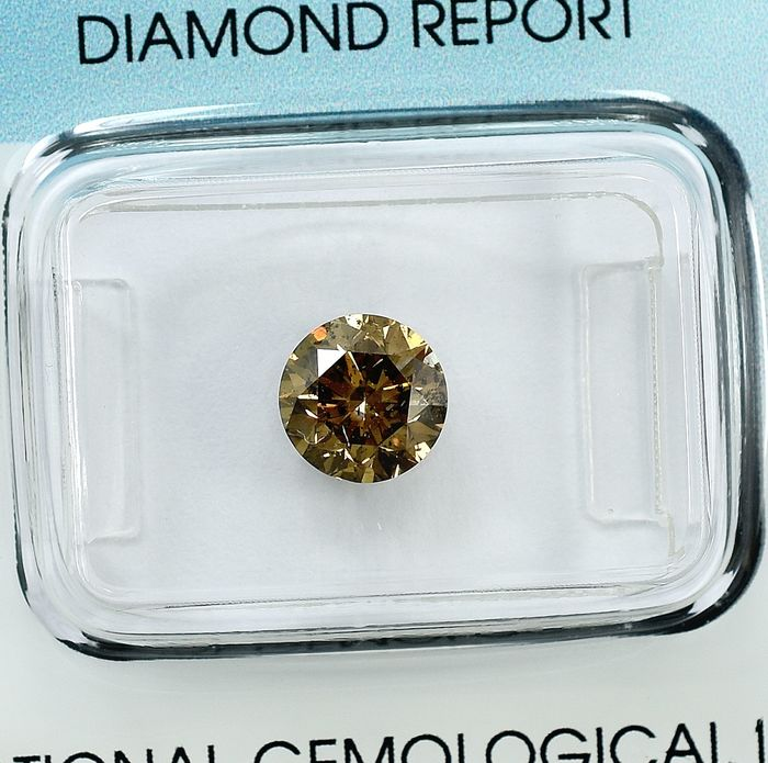 Diamond - 1.26 ct - Brilliant - Natural Fancy Deep Yellowish Brown - I1 - NO RESERVE PRICE