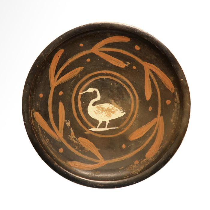 Oud-Grieks Terracotta Apulian Xenon-ware Plate with Swan (Swan Group)