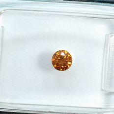 Diamond - 0.20 ct - Briliant - Natural Fancy Deep Yellowish Orange - Si1 - NO RESERVE PRICE