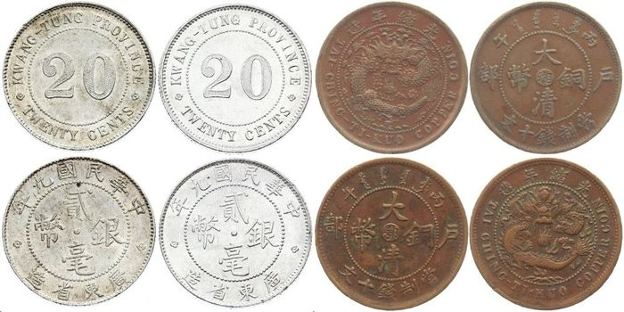 China - Lot comprising 4 coins, incl. Kwangtung silver 20 cents (1920) / 10 Cash copper coins