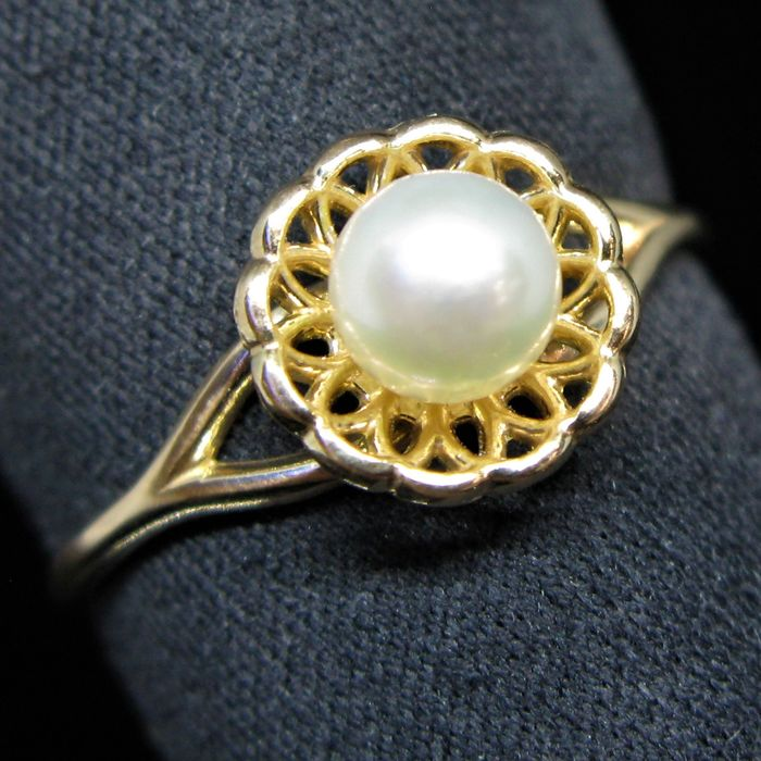 No reserve price - 14 kt. Pink gold - Ring white-light pink Akoya round pearl Ø 5.3 mm diameter