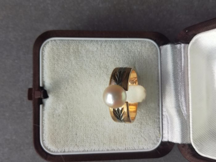 18 kt. Saltwater pearls, Yellow gold - Ring Pearl