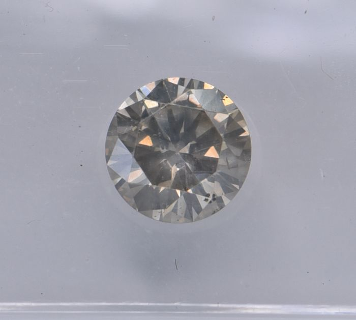 1 pcs Diamant - 0.87 ct - Rund - Fancy brownish yellow grey - SI2, No Reserve Price!