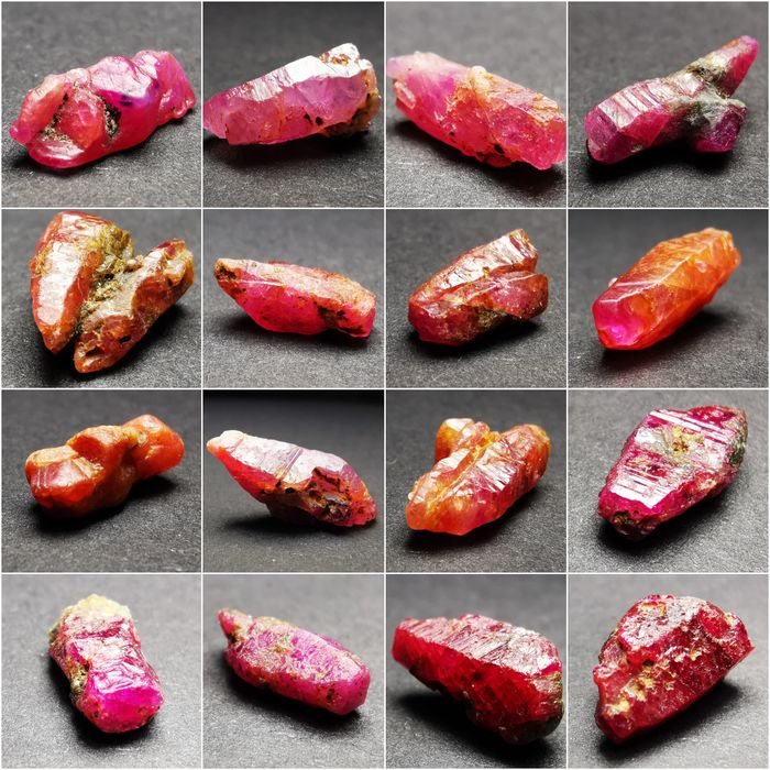 Vietnamese Terminated Ruby Crystals - 61.5 ct - 15×7×5 mm - 12.3 g - (16)