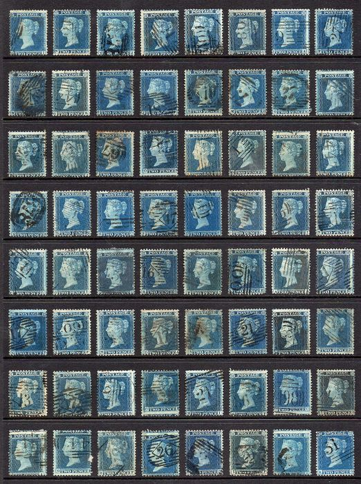 Great Britain - England - QV 2d Blue Star Collection of 94 Stamps