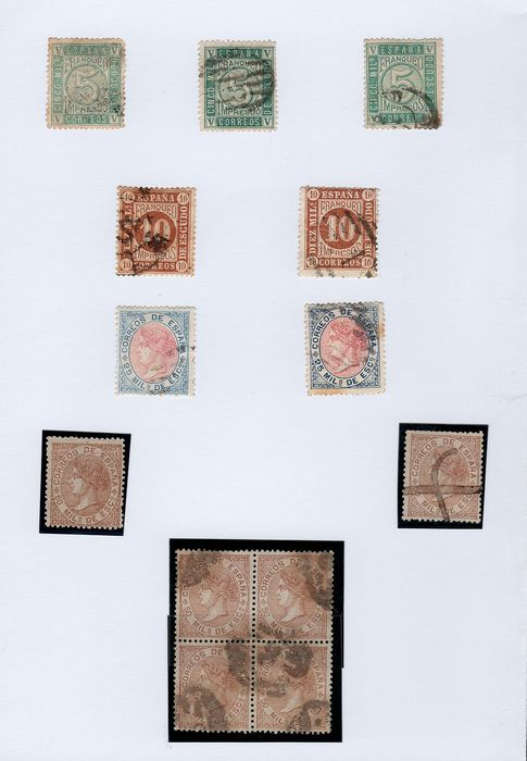 Spain 1867/1868 - Isabella II. Batch of 27 pieces, including stamps, postmarks, colours, letters...
