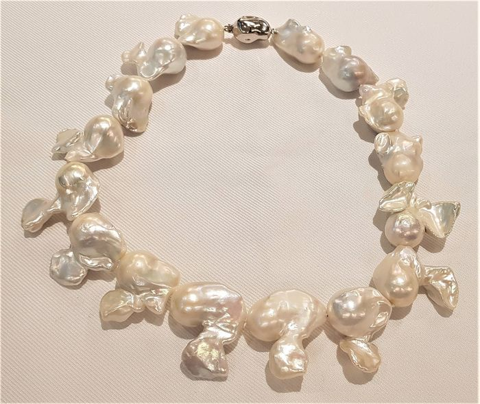NO RESERVE PRICE - 925 Silver - 20x25mm Cultured Pearls - Necklace