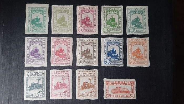 Spain 1930 - 11th International Railway Congress, complete set of 14 values - Edifil 469/482