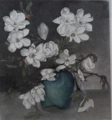 Frans Everbag ( 1877 - 1947 ) - Magnolia's in groene gemberpot.