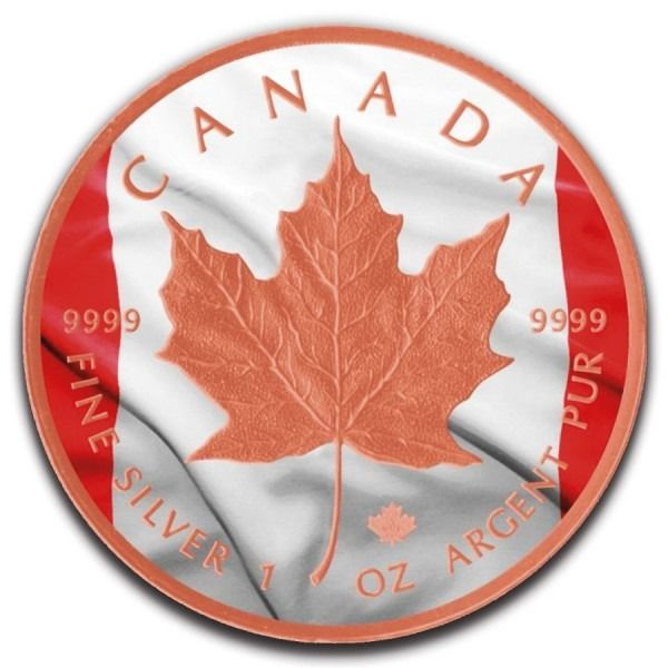 Canada - 5 Dollar 2019 - CANADIAN FLAG Colorized Rose Gold Gilded  - 1 Oz - Silver
