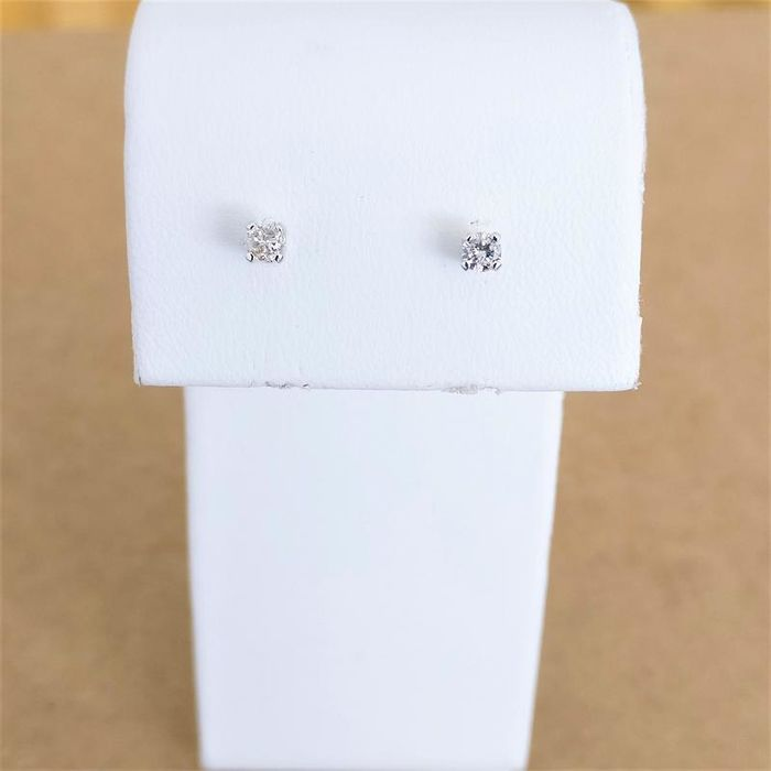 18 quilates Oro blanco - Pendientes - 0.18 ct Diamante