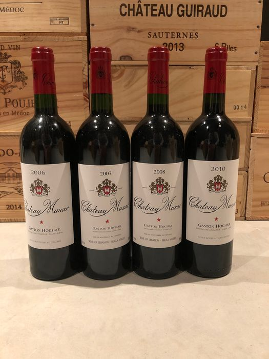 2006 , 2007, 2008, 2010 Chateau Musar - Bekaa Valley - 4 Fles (0.75L)