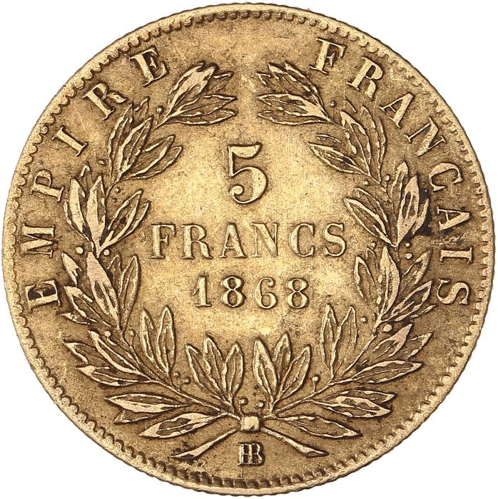 5 Francs 1868-BB Napoléon III - Or