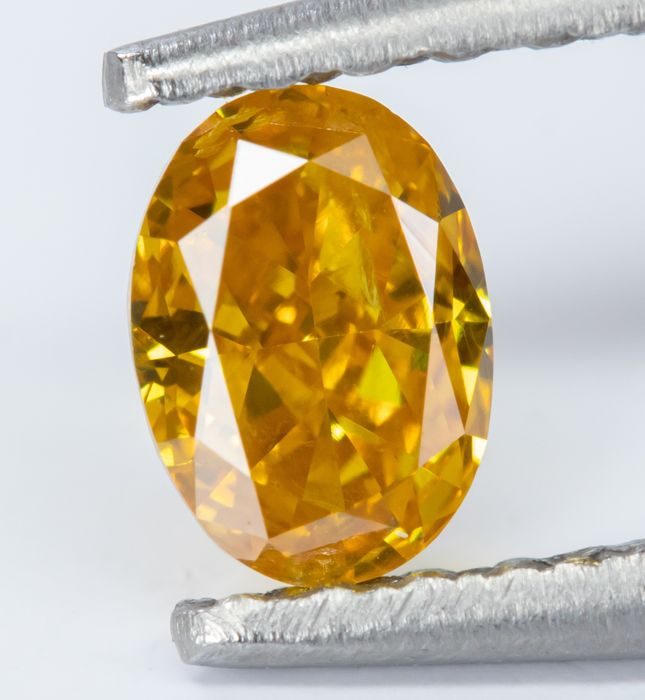 Diamant - 0.27 ct - Natural Fancy INTENSE Orange-Yellow - SI1  *NO RESERVE*