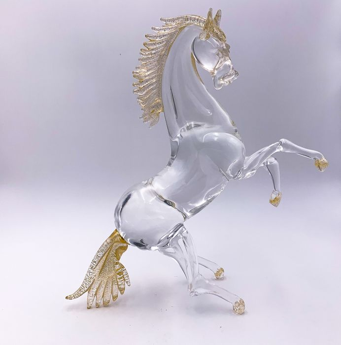 Massimo Tagliapietra - Crystal glass and gold leaf horse (36 cm) (1)