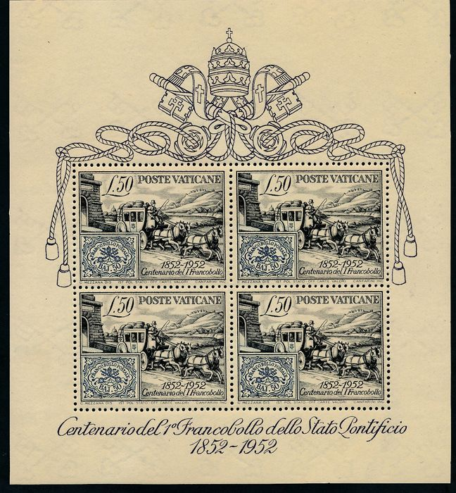 Europa 1952 - Vatican, block miniature sheet 100 years of postage stamps
