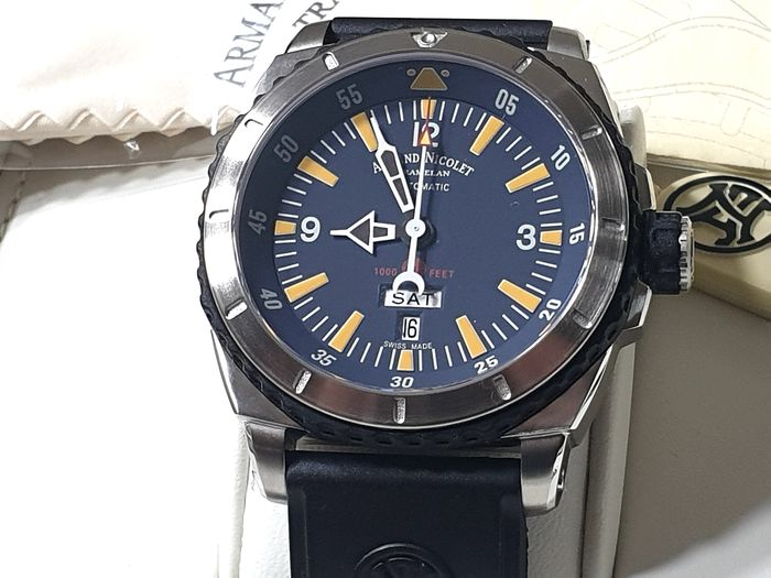 "Armand Nicolet - ""NO RESERVE PRICE"" - S05-3 Day & Date - Blue dial - Black Rubber Strap - A713MGN-BU-G9610 - Automatic Swiss Made - Men - 2011-present"
