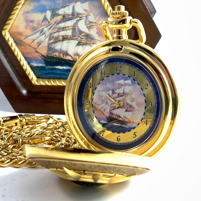 Franklin Mint - The Golden Age of Sail - Cutty Sark - Natutical Watch with Compass - .999 (24 kt) goud, Hout, Metaal