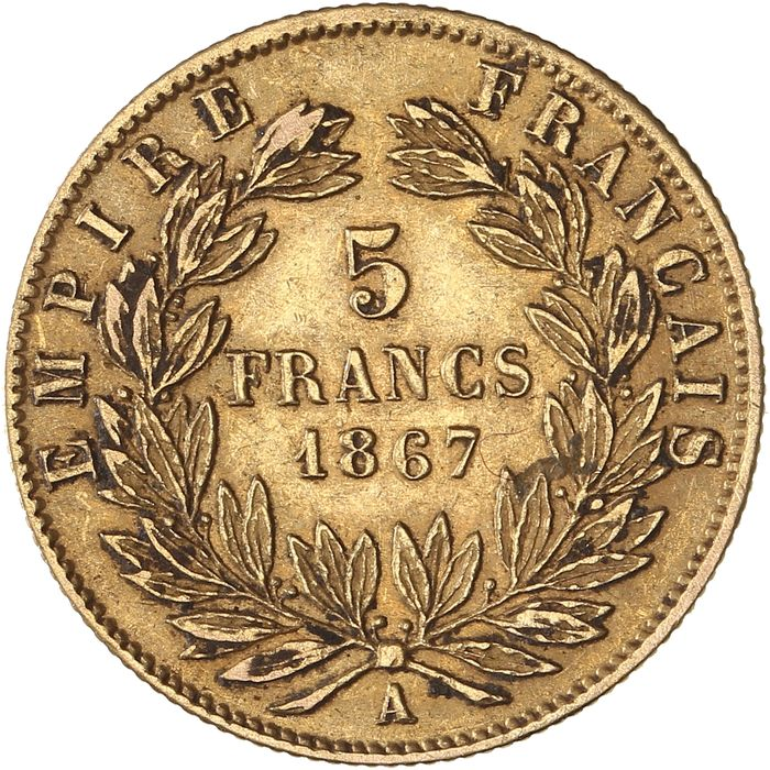5 Francs 1867-A Napoléon III - Or