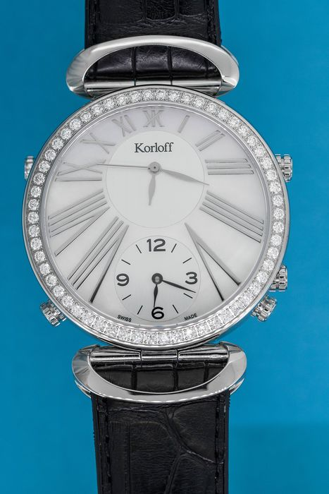 Korloff - Diamonds for  1,74 Carat Reversible Voyager Edition GMT White Mother of Pearl Alligator Strap Swiss - MTZRD - Hombre - BRAND NEW