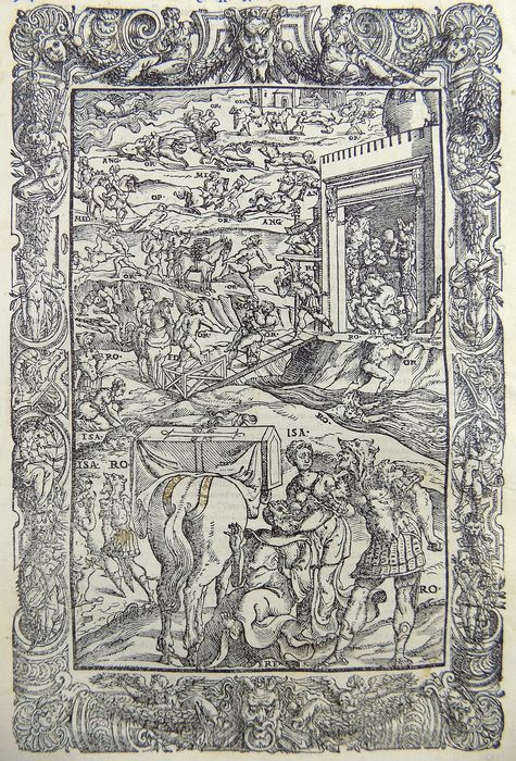 Lot of 2 quarto woodcuts from Orlando furioso - Knights in Armour, Battle Scenes - Mannerist Borders - Ludovico Ariosto - Woodcut leaves - 1558