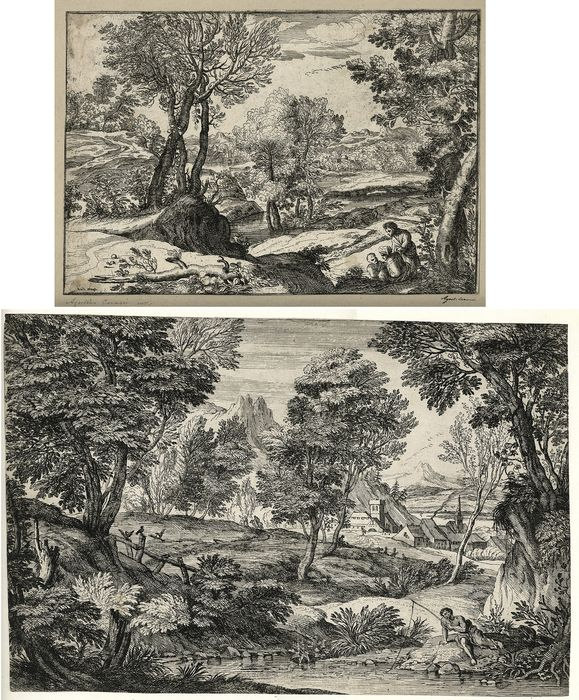 After, or Style of, Giovanni Francesco Grimaldi (1606-1680)  - 2 Wooded Landscapes: Woman, man & child with river & town; Fisherman, river & town