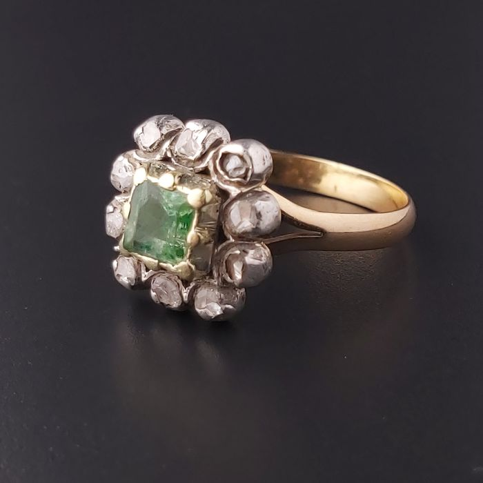 14 kt. Pink gold, White gold - Ring - 0.50 ct Emerald - Diamonds