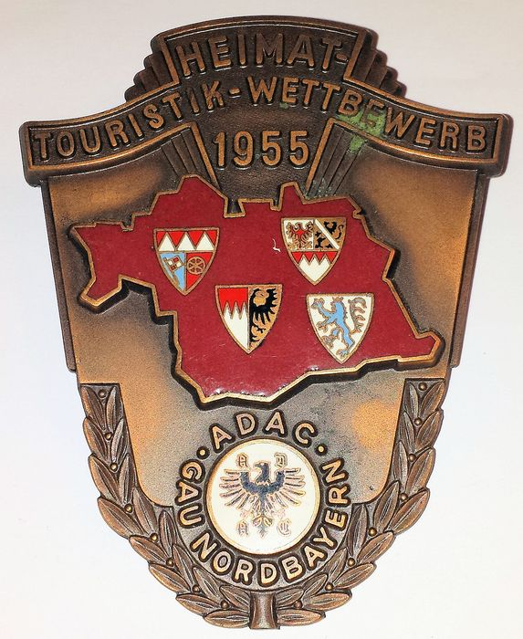 Decorative object - ADAC Grille Badge - Gau Nordbayern - Heimat-Touristik-Wettbewerb - 1955