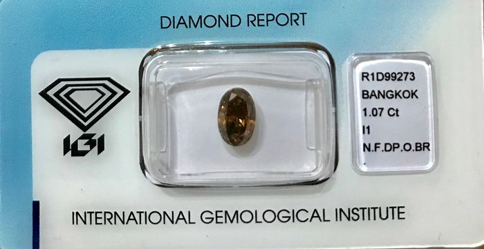Diamant - 1.07 ct - Ovaal - Natural Fancy Deep Orangy Brown - P1